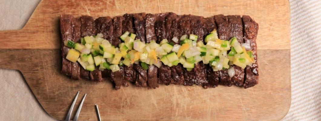 Entraña con Salsa de Vegetales Frescos