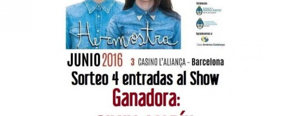 Ganadora de las 4 entradas al Show de Malena Pichot y Charo Lopez