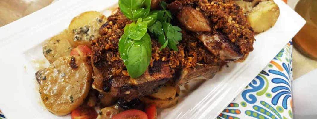 Receta Bifes T-bone al pesto de tomates con salteado de papas y setas