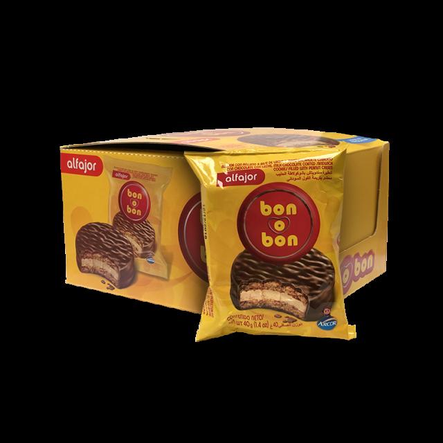 Caja Alfajor Bon o Bon Argentino Clásico de Maní y Chocolate Arcor 20 Unidades