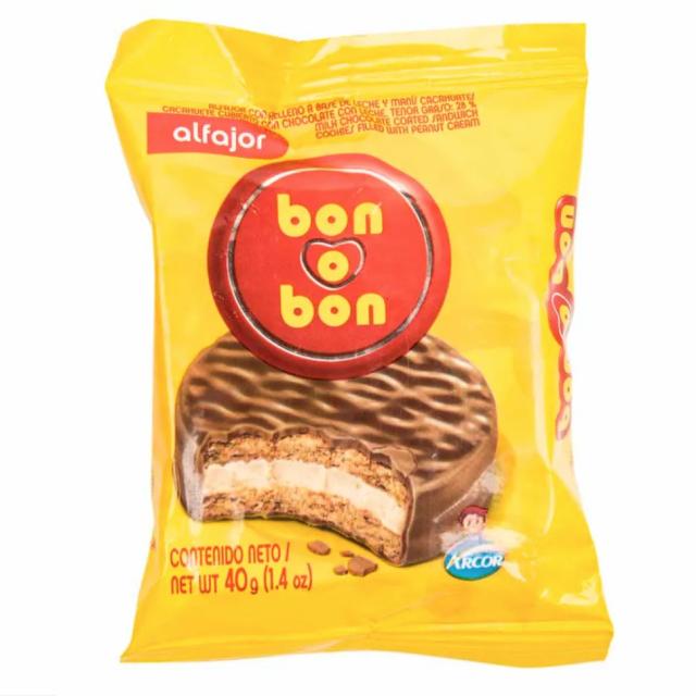 Alfajor Bon o Bon Argentino Clásico de Maní y  Chocolate