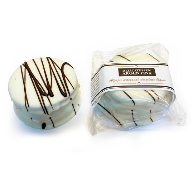 Alfajor de Chocolate Blanco con Dulce de Leche Artesanal Marca Delicatessen Argentina - Unidad