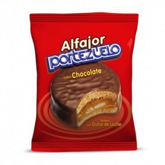 Alfajor Portezuelo Clásico de Chocolate Relleno de Dulce de Leche de Uruguay - Unidad