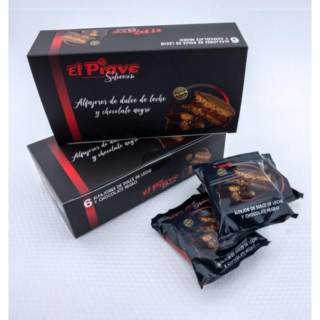 Alfajores de Chocolate y Dulce de Leche El Piave Estilo Artesanal en Cajas de 6 Unidades