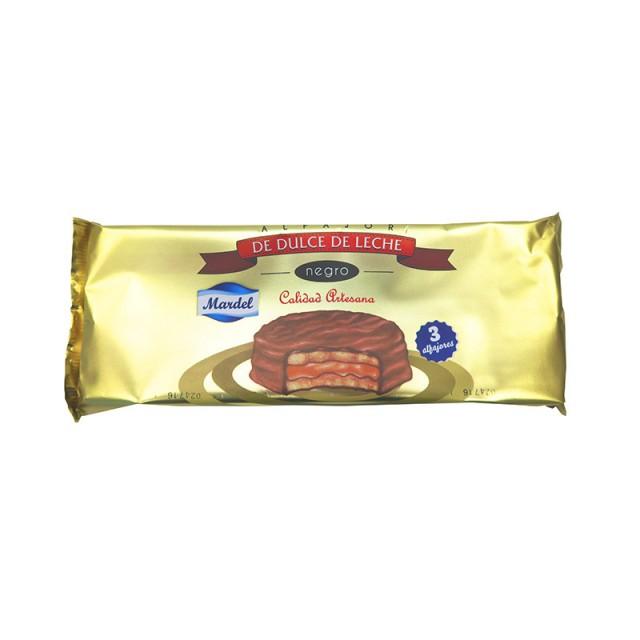 Alfajores Mardel Chocolate Negro de Dulce de Leche Blister de 3 Unidades