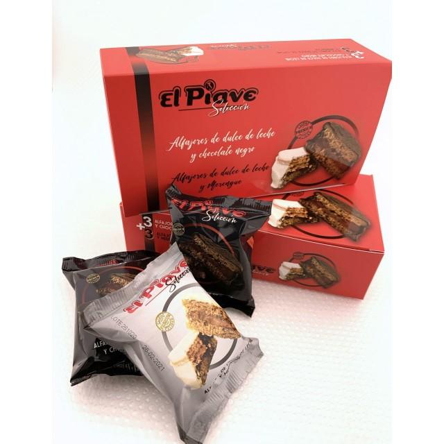 Alfajores Mixtos Nevado de Merengue y Chocolate y  Dulce de Leche El Piave Estilo Artesanal Caja 6 unidades