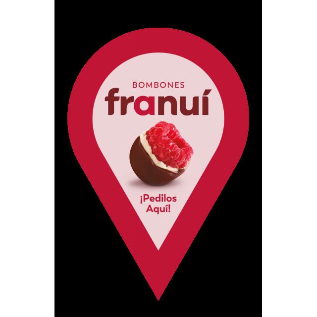 Franui Bombones de Frambuesas Bañadas con Chocolate con Leche de la Patagonia 150 Gramos