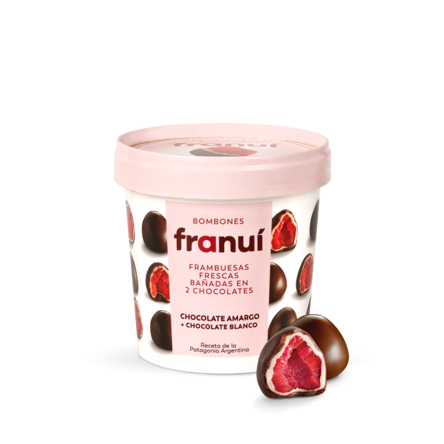 Franui Frambuesas Bañadas con Chocolate de la Patagonia 150 Gramos