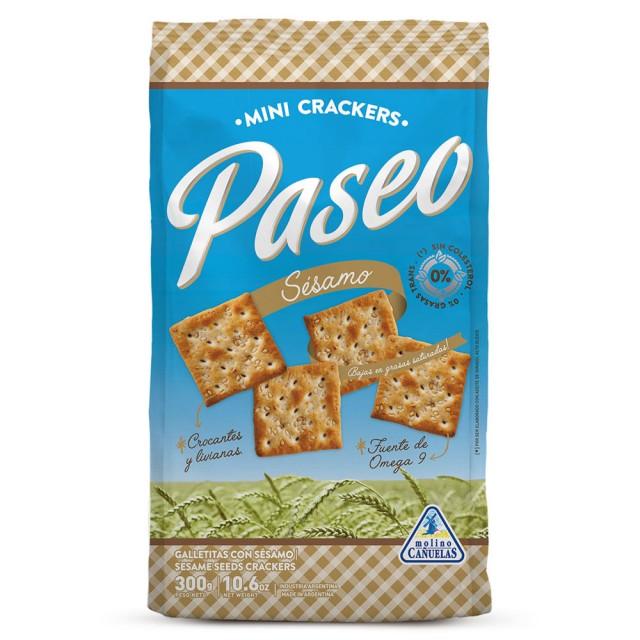 Galletitas de Agua Crackers Paseo con Sésamo 300 Gramos Molino Canuelas Argentina