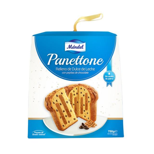 Pan dulce Panettone Márdel relleno con dulce de leche y pepitas de chocolate 750g