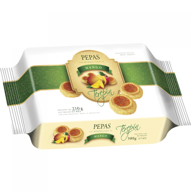 Pepas Terepin con Dulce de Mango Blister  210 gramos