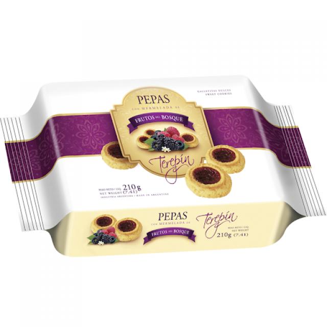 Pepas Terepin con Dulce de Frutos Rojos Blister  210 gramos