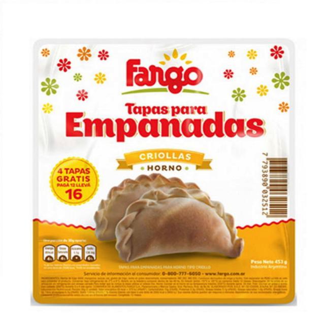 Tapas para Empanadas Fargo Criolla Mediana 16 Unidades