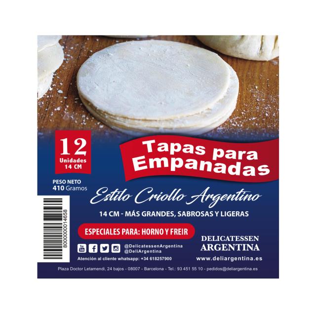 Tapas para Empanadas 14 cm Grandes Delicatessen Argentina Oferta 5 Paquetes