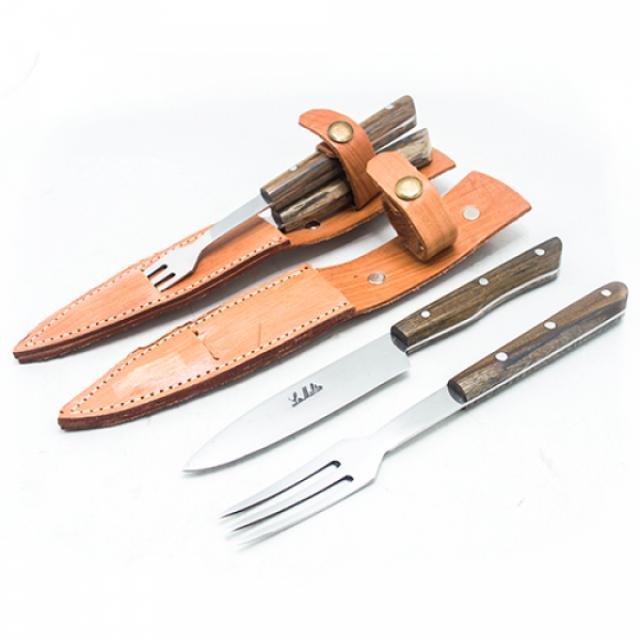 Set de Asado Argentino de Cuchillo y Tenedor con Vaina de Cuero