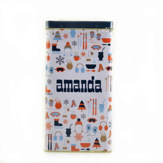 Lata Yerbera Amanda Verano Color Azul + 500 gramos de  Yerba Amanda Tradicional