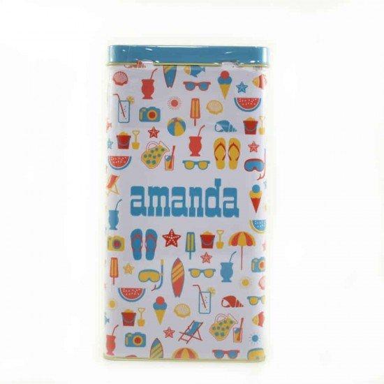 Lata Yerbera Amanda Verano Color Celeste + 500 gramos de  Yerba Amanda Tradicional