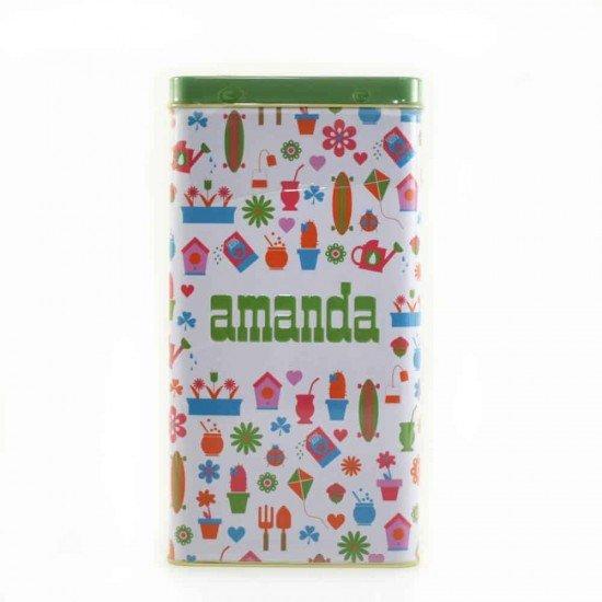Lata Yerbera Amanda Verano Color Verde + 500 gramos de  Yerba Amanda Tradicional