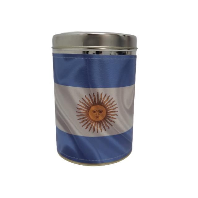 Lata Yerbera Bandera Argentina Forrada con Dosificador