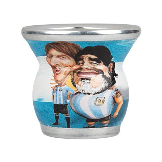Mate de Vidrio Diseño Maradona y Messi