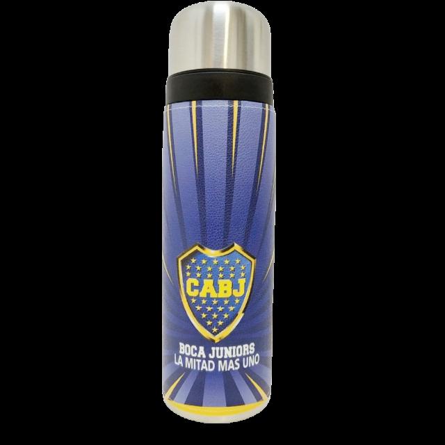 Termo Metalico Inoxidable 1 Litro con Pico Vertedor y Mango Negro Equipo Fútbol Club Boca Juniors La Mitad más Uno