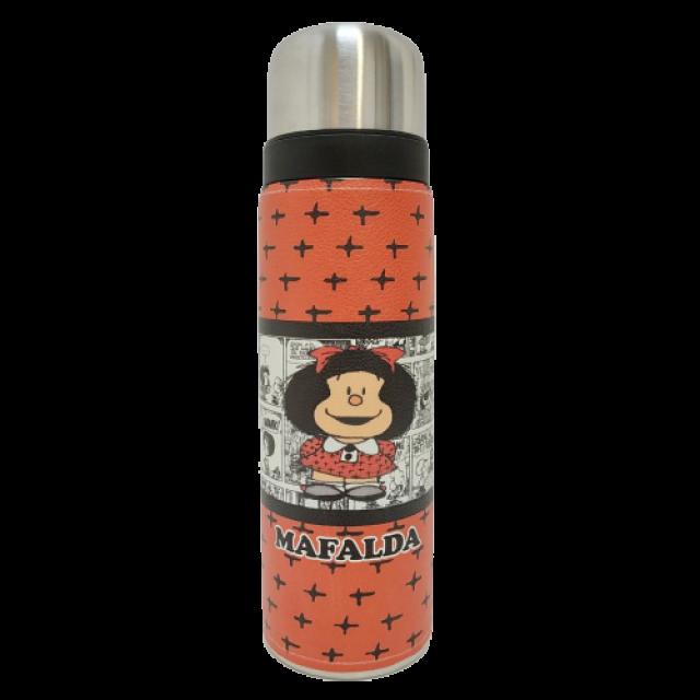 Termo Metalico Inoxidable 1 Litro con Pico Vertedor y Mango Negro Mafalda Argentina