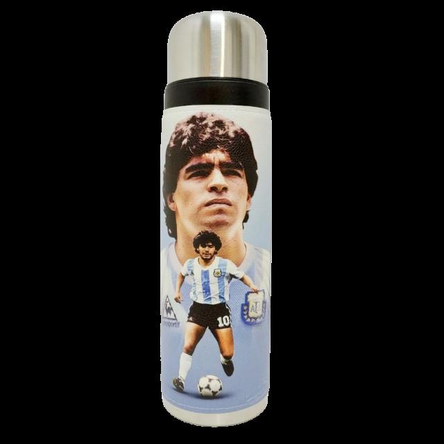 Termo Metalico Inoxidable 1 Litro con Pico Vertedor y Mango Negro Equipo Maradona El Diez Pelota Selección Argentina