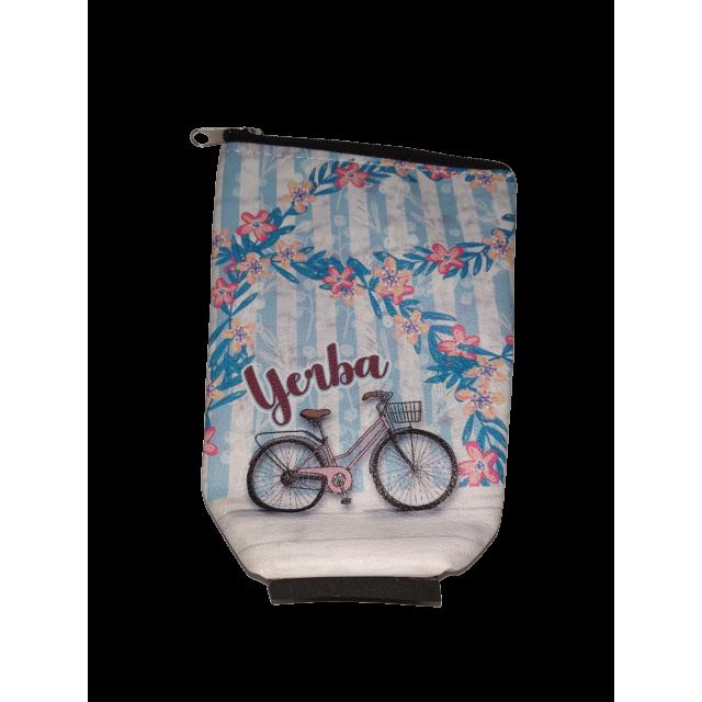 Yerbera de EcoCuero con Cierre e Interior Plástico Aislado Motivo Bicicleta