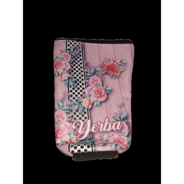 Yerbera de EcoCuero con Cierre e Interior Plástico Aislado Motivo Flores Rosas